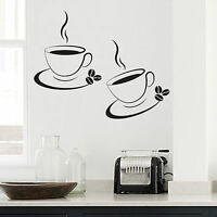 2 x Coffee Cup Kitchen/ Cafe Wall Art- Decal- Transfers-Stickers