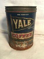 RARE Vintage 1930s YALE Coffee metal tin Can 1lb St. Louis MO