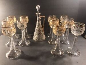 Antique Bohemian Cut And Gilt Decanter And Stems/ France/ Venice/ C. 1880/ Wine