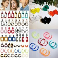 Fashion Boho Geometric Acrylic Statement Earrings Hoop Resin Dangle Womens Gift