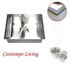 "25"" x 22"" x 10"" Deep  Topmount Drop in Stainless Steel Kitchen Sink 16 gauge"