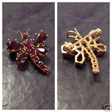 Anhänger Granat Granatanhänger 333er Gold Schmetterling oder Libelle Brosche 8kt