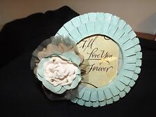 "7"" Round Picture Frame Shabby Chic Flower Robins Egg Blue ""Love"" Nice Quality"