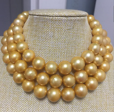 huge 14k13-16mm south sea round  golden pearl neklace 40inch
