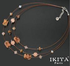 Luxus Statement Halskette IKITA Paris Kette Kabel Collier Glas Shamballa Kristal