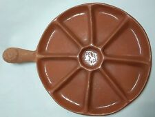 Terra Cotta Round Tray with 8 Divided Sections Handle w/ Raised Sun Glazed Top