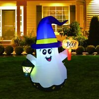 5F Halloween Inflatable Blow Up White Ghost Lighted Led Outdoor Yard Decoration