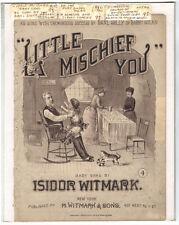 Rare Antique Original VTG 1886 Little Mischief You Litho Piano Sheet Music Print