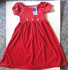 KRU Red Velveteen Smocked Bodice SS Poly Spandex Dress All Seasons Girl 5 NWT