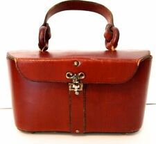 VINTAGE Etienne Aigner LUNCH BOX Style Purse RED WINE Leather Handmade Handbag