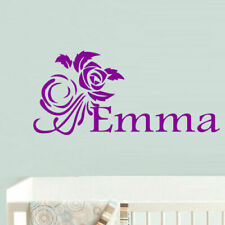 Wall Decal Custom Name Inscription Personalized Baby Flower Rose Nursery M693