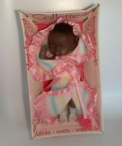 Vintage Collette African American Baby Doll NOS Drinks Wets Moveable