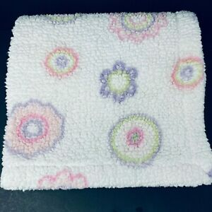 Little Miracles White Sherpa Baby Blanket Purple Green Pink Flower Circle Costco