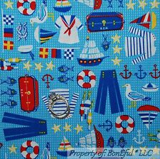 BonEful Fabric FQ Cotton Quilt Blue Red White Ship Flag Sail Boat Fish Beach Boy