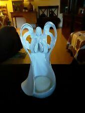 Praying Angel White Porcelain Votive Candle Holder w/ Gold Edging