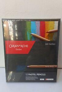 CARAN D'ACHE PASTEL PENCILS - Box of 12 assorted colour fine dry pastel pencils