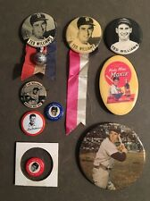 Lot Of 9 VTG Original Ted Williams Pinback Button Pins Red Sox HOF WWII Pilot