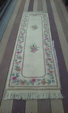 NICE COLORS ORIENTAL GENUINE  HAND KNOTTED CHINESE AUBUSSON  DESIGN  RUNNER RUG