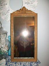 Vintage Antique Ornate Gesso Wall Mirror Wood Frame Floral Carved