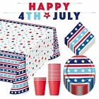 4th of July Party Patriotic Stars and Stripes Dessert Plates, Napkins, Table Cov
