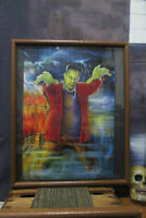 "FRANKENSTEIN Completed Wood Framed Jigsaw Puzzle Art Glued Under Glass 17"" x 21"""
