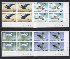 4x Nevis - Birds  Fauna on postage stamps imperf. MNH** AK