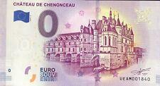 BILLET 0 EURO SOUVENIR TOURISTIQUE CHATEAU DE CHENONCEAU 2019-2