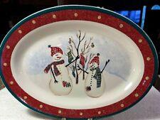 """Royal Seasons Stoneware Snowmen RN2 14"""" Platter Christmas Holiday Discontinued"""