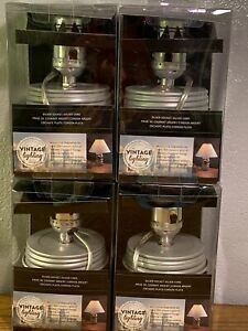 4 Cleveland Vintage Lighting™ Canning Jar Lamp Wall plug 7 1/2 Foot Long Silver