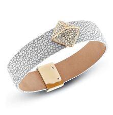 Michael Kors mkj5227710 Bangle Bracelet Leather in color Gold White Grey New