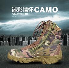 Men Military Combat Boots High Top Hiking Camo/Black Army Battle Desert Shoes