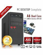PC AMD APU A6 X2 9500 Dual Core/Ram 8GB/SSD 240GB/PC Assemblato Completo Compute