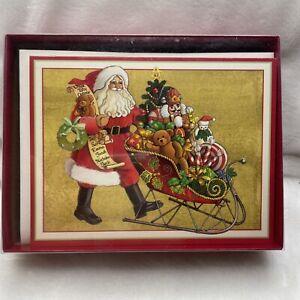 "15 Caspari Christmas Cards Boxed - ""All of my favorite things Santa"""