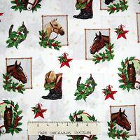 Holly Jolly Christmas Fabric - Horse Portrait White - Robert Kaufman YARD