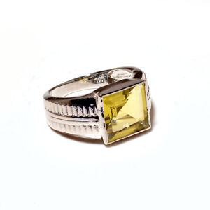 Natural Lemon Topaz Gemstone with 925 Sterling Silver Ring For Men's