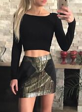 ❤️❤️ Women's BNWT WISH Brand Size 10 S Black & Gold Mini Skirt FREE POST ❤️❤️