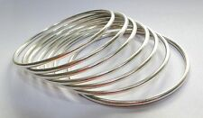 Traditional design solid sterling silver handmade jewelry plain Bangles set of 7