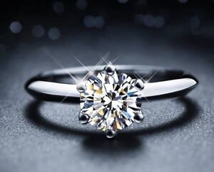 1 Carat CZ Solitaire Engagement Ring Solid Sterling Silver Platinum Plated