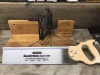 """Vintage STANLEY No. 115 Miter Box & Stanley HandyMan 15-637 16"""" 13 Point Saw"""