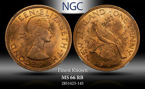 1964 NEWZEALAND PENNY NGC MS 66 RB FINEST KNOWN