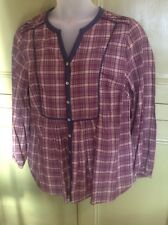 Monsoon Uk 20 Lightweight Cotton Casual Tunic Top Check Summer Holiday Check