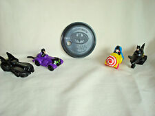 Batman 5 pc.complete set w /minidisk-drink cover McDonalds Happy Meal toy 1992