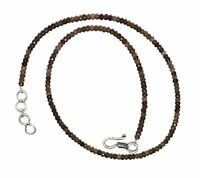 """100% Natural Smoky Gemstone 3-4mm Beads Rondelle Faceted 12-45"""" Strand Necklace"""
