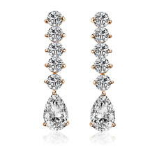 18K Yellow Gold GB 2.25 Carat Solitaire & Pear Sim Diamond Drop Earrings E126