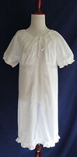 Laura Ashley S White Cotton Lace Trim Boho Prairie Open Front Summer Night Dress
