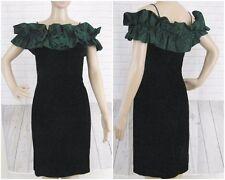 Roberta of California Dress Size 7/8 Vintage 80s Black Velvet Green Ruffle