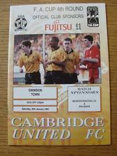 25/01/1992 Cambridge United v Swindon Town [FA Cup] (Team Changes)