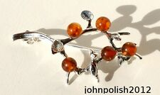 Amber's Branch with small Bird  Brooch on silver 925.