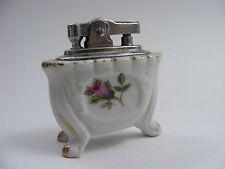 Vintage Footed Ceramic Ladies Cigarette Lighter Hand Painted Pink Rose Japan