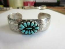 VINTAGE NAVAJO AMERICAN INDIAN STERLING SILVER & TURQUOISE CUFF BANGLE signed MB